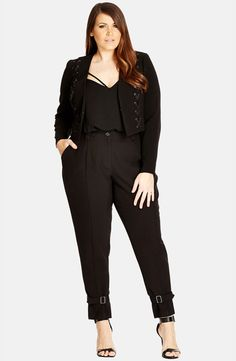 Plus Size 'Laced Up' Crop Jacket