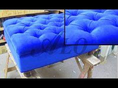 DIY: TUFTED OTTOMAN. RECTANGULAR SHAPE. DANIELLE B. - ALO Upholstery - YouTube