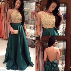 Online See Through Back Floor Length Golden Teal Green Fashion Long Prom Dresses, WG224