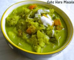 Palakkad Chamayal: Subz Hara Masala ~ Mixed Vegetables in Green Gravy