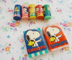 Seven Cute Snoopy Erasers.80s