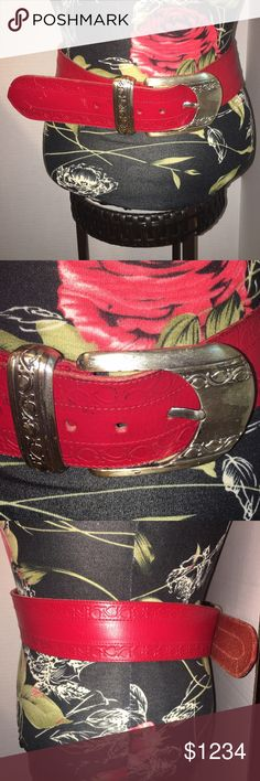 "Vintage Genuine leather belt from Spain in Large Preloved Vintage Tony Barceló red genuine leather belt from Spain.  Size is a large.  Silver buckle.  This is a most beautiful vintage leather belt with minor wear and in great condition.  Minor flaw is shown in pictures and may come but haven't tried are the black markings in the end with the holes.  5 holes for adjusting.  34""-38"" waist.  This is a thick belt and width is about 2.5"".  Questions? Ask :) Tony Barcelo Accessories Belts"