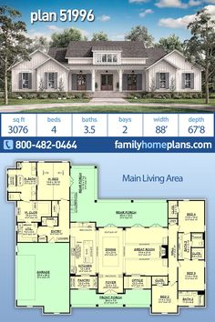 Country Style House Plan Number 51996 with 4 Bed, 4 Bath, 2 Car Garage NEW Moder. Country Style House Plan Number 51996 with 4 Bed, 4 Bath, 2 Car Garage NEW Modern Farmhouse by Award Winning Archite Family House Plans, Country Style House Plans, New House Plans, Dream House Plans, Dream Houses, 5 Bedroom House Plans, House Design Plans, Texas House Plans, One Level House Plans
