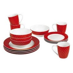 Twinkle 16 Piece Porcelain Dinner Set in Red by Sabichi, http://www.amazon.co.uk/