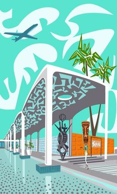 """Nat Reed's map of Palm Springs Modern design sights is part of """"Postfabricated,"""" an exhibition at a Palm Springs pop-up shop Feb. 17-26 as part of Palm Springs Modernism Week"""