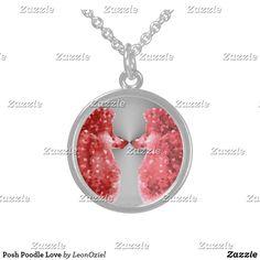 Shop Posh Poodle Love Sterling Silver Necklace created by LeonOziel. Metal Necklaces, Sterling Silver Necklaces, Dog Jewelry, Black Felt, Pet Accessories, Poodle, Pendant Necklace, Shop