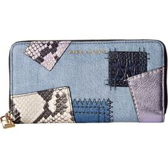 Marc Jacobs Denim Patchwork Standard Continental Wallet (Denim Multi)... ($195) ❤ liked on Polyvore featuring bags, wallets, blue, hardware bag, marc jacobs, denim patchwork bag, blue wallet and embellished bag