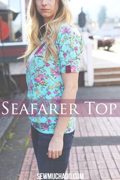 This Seafarer Top is a quick and easy sew, perfect for beginners! The leather detailing adds the perfect touch!