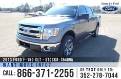 2013 Ford F150 XLT - SuperCrew Cab - V8 5.0L Flex Fuel Engine - 4WD - Keypad Door Lock - Alloy Wheels - Tinted Windows - Fog Lights - Running Boards - Tow Hooks - Bed Liner - Safety Airbags - Seats 6 - AM/FM/CD - SIRIUS Satellite Ready - iPod/Aux/USB - Bluetooth - SYNC by Microsoft - Cruise Control - Remote Keyless Entry - Powered Windows/Locks/Mirrors - Digital Compass - Outside Temperature Display and more!
