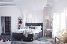 Bilder, Sovrum, Carpe Diem Beds of Sweden, Kontinentalsäng, Sängkläder, Sänggavel, betong, Grått, Kudde, Säng, Sovrum - Hemnet Inspiration