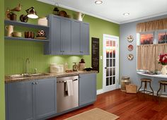 This is the project I created on Behr.com. I used these colors: FRESH APPLE(P360-6),LIQUID MERCURY(N510-5),GALACTIC TINT(N510-2),