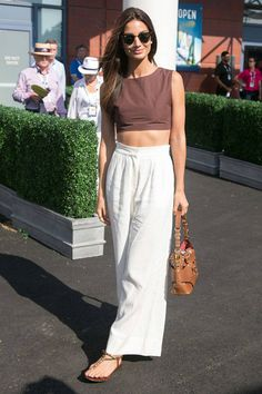 Lily Aldridge at the US Open. Celebrities got sporty as they flocked to watch tennis over the weekend. See their looks here: