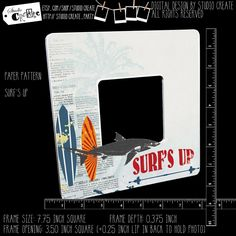 photo frame - surf's up (shark, surfboard, palm tree, beach) by studioCREATE on Etsy Photo Cutout, Surfer Dude, Instagram Frame, Surfs Up, Frame Sizes, Pattern Paper, Painting Frames, Paper Design, Palm Trees