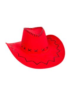 Red With Black Stitching Cowboy Hat – Spirit Halloween