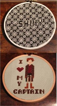 """""""SHINY"""" whitework (reversible!) and """"I love my captain"""" hoops."""