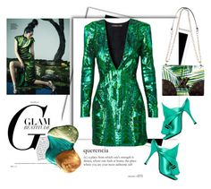 """""""Color of Fashion: Green Flash"""" by harperleo ❤ liked on Polyvore featuring N°21 and Balmain"""