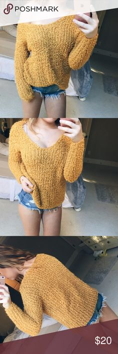 mustard sheep knit sweater gorgeous mustard yellow colored sweater with a sheep-like material. so soft and comfortable! absolutely love this sweater. the v-neck gives it so much feminism and character. super cute worn off the shoulder or just regularly. pair it with a bralette for a more hipster vibe. size small, but could also fit a medium! Forever 21 Sweaters