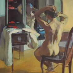 Research - PD - Vanity. I like the idea of having some clothes draped over the vanity along with Cynthia's makeup. Plus I felt like the pose the woman in the painting is making is very Cynthia-like. (Woman at Her Vanity by Bill Tamburrino)