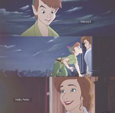 "Ok, to be completely honest, this part choked me up more than the Tinkerbell incident... I dont even know how Peter, other than the fact that its the same house, knows that that it Wendy, and can I just say ""ZAYUM GURL!!! YOU PERTY!!!""... But anyway, it breakes my heart to see them together, for one last time..."