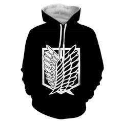 Attack On Titan Survey Corps Black And White Symbol Hoodie #AttackOnTitan #Survey #Corps #BlackAndWhite #Symbol #Hoodie