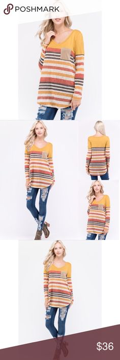 """S Fall Striped Shirt """"Made in USA"""" Made in USA! This shirt beams Thanksgiving and fall! Tops Tees - Long Sleeve"""