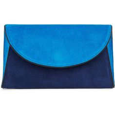 Diane Von Furstenberg Blue Suede Clutch ($295) ❤ liked on Polyvore featuring bags, handbags, clutches, blue handbags, blue clutches, blue purse, snap purse and suede handbags