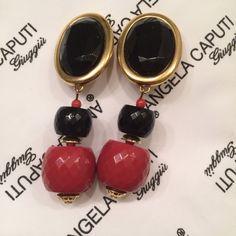 Angela Caputi dangle earrings red black resin beads and gold tone trim | Jewelry & Watches, Fashion Jewelry, Earrings | eBay!