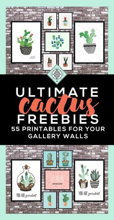 Cactus Art Roundup: 55 Awesome Free Printables • Little Gold Pixel - Kaktus Prints als Wanddeko