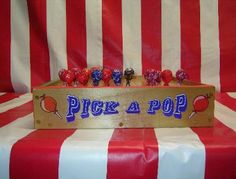 """Pick-A-Pop game, """"player picks lollipop out of game board. Color painted on bottom of lollipop stick will determine prize"""" Sounds easy enough to make at home!"""