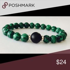 Men's Malachite Beaded Gemstone Bracelet This handsome success inspired bracelet is made with 8mm Malachite and features a 10mm Matte Black Onyx focal bead. Malachite is a great self confidence and success stone. Simply Now And Zen Accessories Jewelry