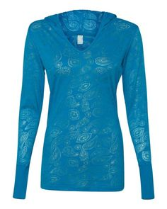 Ladies Jersey Burnout Hooded Pullover T-Shirt By J America (FREE SHIPPING)