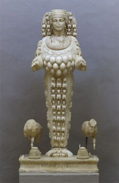 Artemis of Ephesus c. Roman copy of the cult statue of the Temple of Ephesus). Statue in the Museum of Efes (Turkey). via Alberti's Window Ancient History, Art History, Statues, Potnia Theron, Ancient Greek Architecture, Cultural Architecture, Art Antique, Creta, Mother Goddess