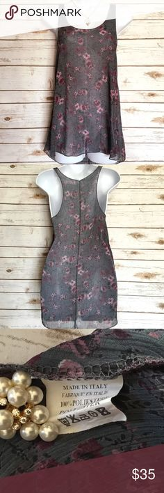 Romantic Sheer Floral Flowy Top Made in Italy Adorable grey top with pink floral print. No size tag but probably a small. Please refer to the measurements. Measures 17 inches across from armpit to armpit and about 28 inches in length. 100% polyester. Tops Tank Tops
