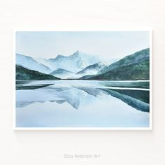 ORIGINAL watercolor painting, Mountain watercolor, Nature watercolor, Landscape painting, Reflection watercolor, Mountain painting