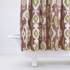Purple/Green Ikat Shower Curtain - i love ikat, and the colour is bright and beautiful...