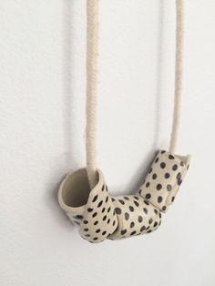 Handmade Ceramic Bead Necklace Black Dots by asensiblehabit