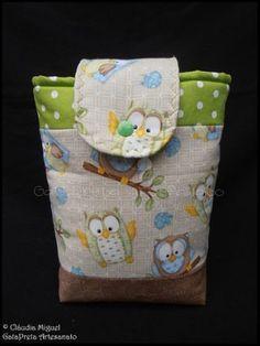 "Conjunto de maternidade ""Mochinhos do Bosque"": mala de maternidade, babete, bolsa para fraldas, muda-fraldas, prendedor de chupetas - GataPreta Artesanato"
