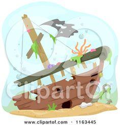 Cartoon of a Sunken Ship Wreck Underwater - Royalty Free Vector Clipart by BNP Design Studio