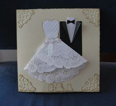 Wedding Card, Mr and Mrs, Bride and Groom Congratulations Card, Tuxedo - Wedding Gown Card, to my daughter on her wedding day Wedding Cards Handmade, Wedding Congratulations, Wedding Anniversary Cards, Wedding Scrapbook, Quilling, Creative Cards, Kids Cards, Homemade Cards, Invitation Cards