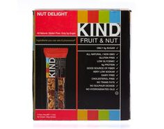 KIND Nut Delight is a satisfying and crunchy blend of mixed nuts including whole peanuts, almonds, brazil nuts and walnuts. Each bar contains 7g protein, 3g fiber, and only 5g of sugar. A study by the Yale-Griffin Prevention Research Center indicates that eating 2 KIND bars each day helps maintain your weight through low glycemic, deliciously satisfying, nutritionally rich ingredients that will keep you fuller longer.   All Natural, Gluten Free, Non-GMO