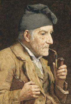"""""""OLD MAN SMOKING HIS PIPE"""", also known as """"ALTER MANN BEIM PFEIFE RAUCHEN"""" (1907), by Swiss artist - Albert Anker (1831-1910), Pencil and watercolor on paper, 34.5 x 24.5 cm., Provenance: Direkt vom Maler an die Familie der heutigen Besitzer; Private collection."""