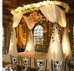 What if - gazebo style diy frame with burlap, soft ribbons, and baby's breath to tie in with wedding?