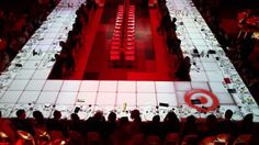 3D projection mapping by Westbury National Show Systems on fashion show runway/dining surface for Toronto Fashion Incubator presented by Target #carlu