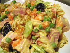 Pasta Salad with Ham, Peas and Celery