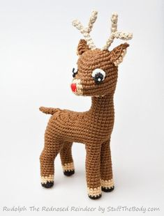 Rudolph The Red-Nosed Reindeer Free Pattern Modification + Fawn Amigurumi Pattern, Christmas Crochet Gift, xmas present, home decor, winter - jucării # christmas crochet patterns free gift crafts Crochet Christmas Gifts, Crochet Gifts, Crochet Toys, Free Crochet, Crochet Diagram, Easy Knitting Projects, Crochet Projects, Red Nosed Reindeer, Reindeer Face