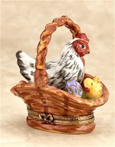Limoges Hen and Chicken in Wicker Basket Box The Cottage Shop