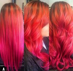 Pink orange ombre dyed hair