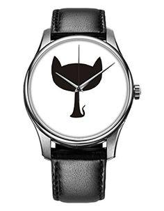Armbanduhr, Silber Schwarz echte Leder Mädchenuhr Damenuhr mit großen Kopf Katze OOFIT Design - http://uhr.haus/oofit/armbanduhr-echte-leder-maedchenuhr-damenuhr-mit-2