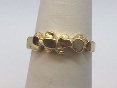 14K YELLOW GOLD NUGGET BAND RING SIZE 5.25 #Band