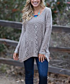 Loving this Mocha Diamond-Pointelle Sidetail Sweater on #zulily! #zulilyfinds